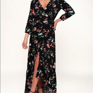 Long, Hi-Lo, wrap dress.  Black, Floral, Size S